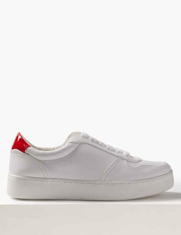 Extra Wide Fit Back Detail Lace-up Trainers d86c8a7cd345