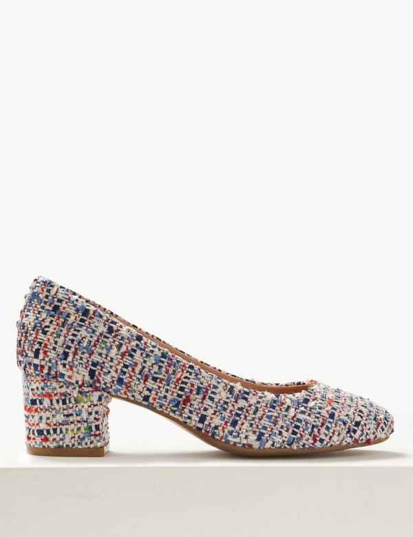 6c787f15228 Wide Fit Block Heel Court Shoes