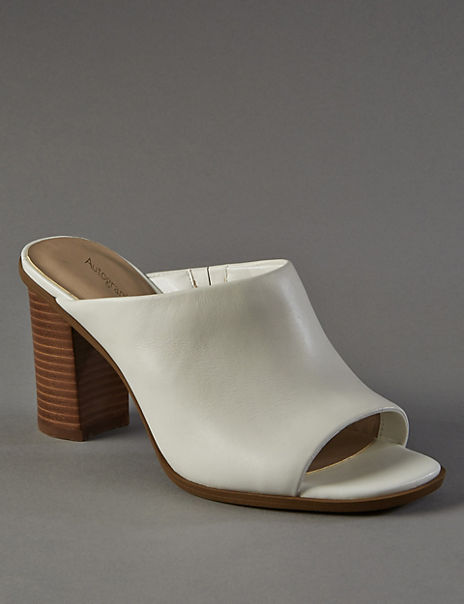Leather Block Heel Mule Sandals with Insolia®