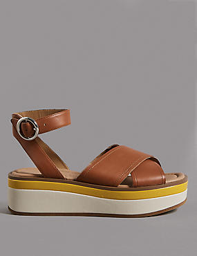 Leather Cross Strap Flatform Sandals
