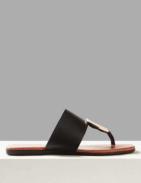 Leather Disc Toe Thong Sandals