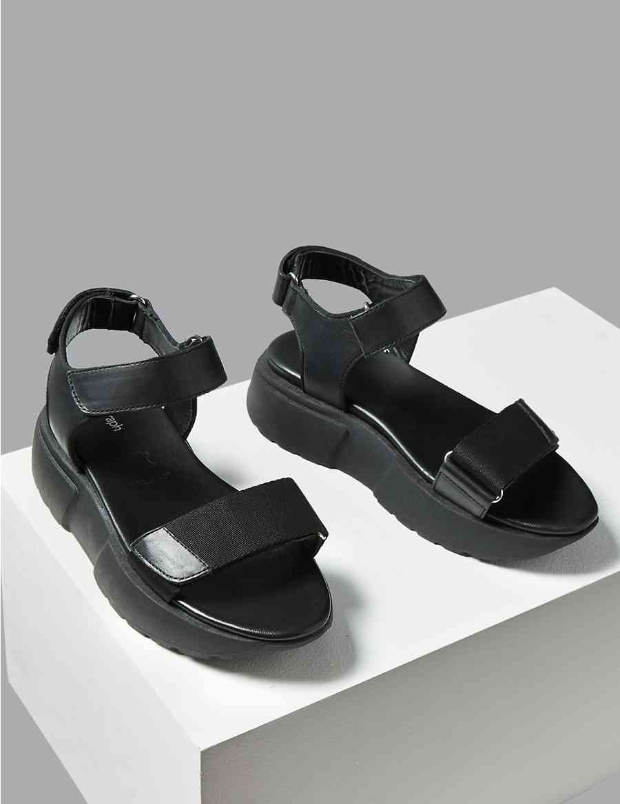 45c74d17947 Leather Flatform Two Band Sandals
