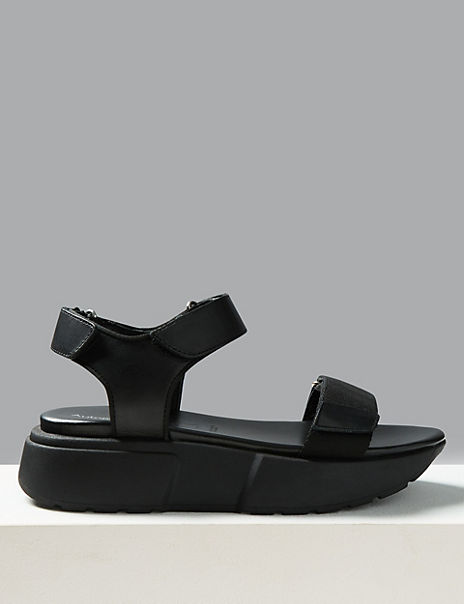 Leather Flatform Two Band Sandals