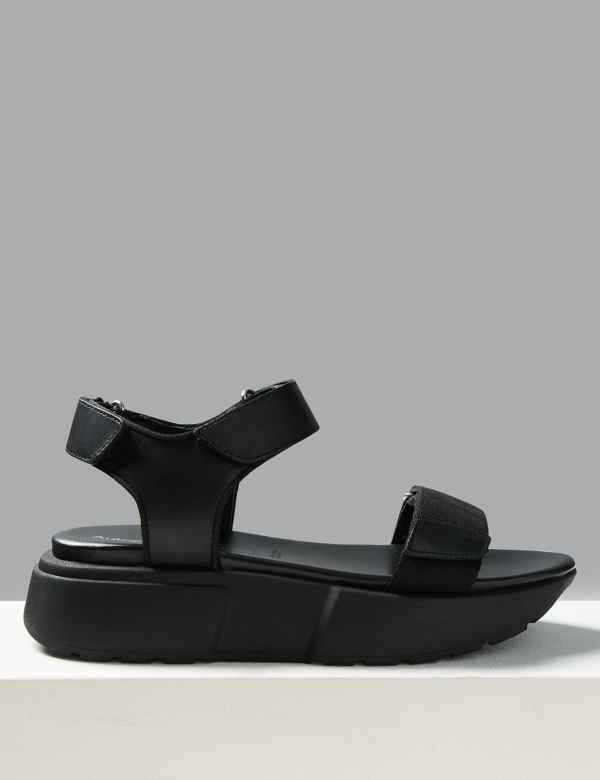 389e48442164 Leather Flatform Two Band Sandals