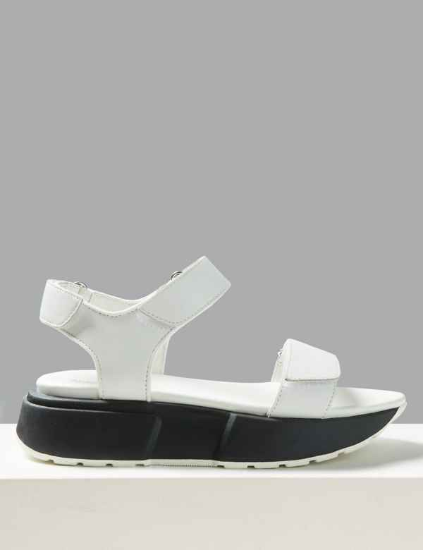 a3bf89441 Leather Flatform Two Band Sandals