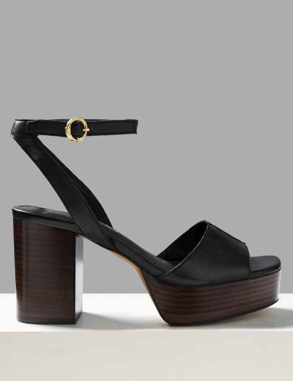 4b941cb2807 Leather Platform Ankle Strap Sandals
