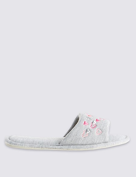 Heart Embroidered Open Toe Mule Slippers