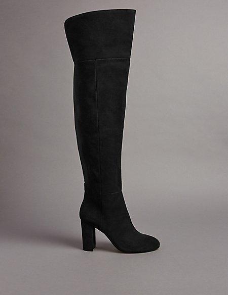 Suede Block Heel Over the Knee High Boots