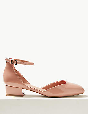 Block Heel Square Toe Court Shoes