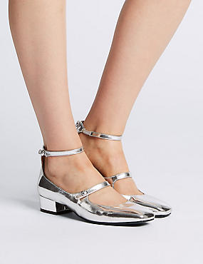 Block Heels Ankle Strap Court Shoes