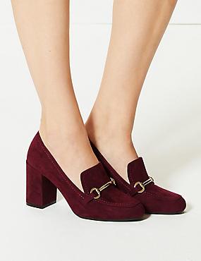 Block Heel Trim Loafers
