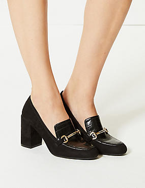 Block Heel Trim Loafers