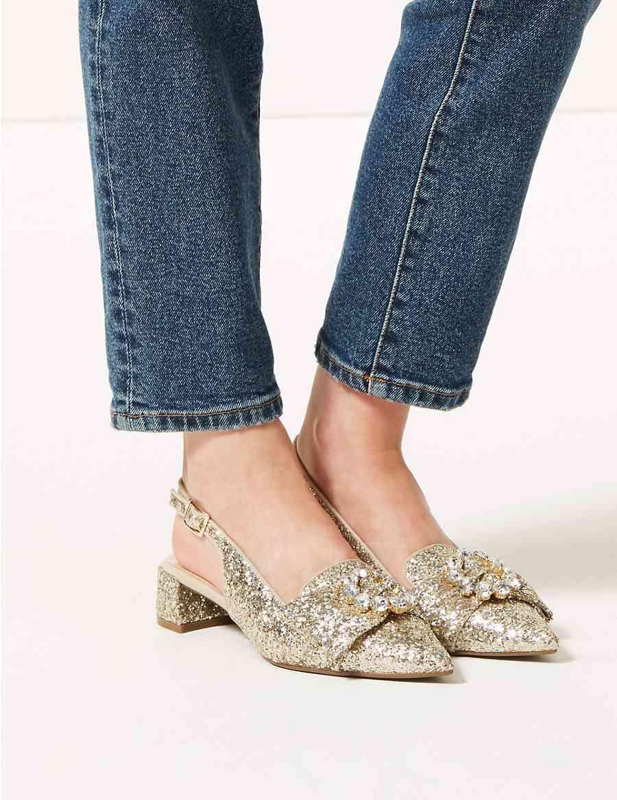 0c29548ddade Block Heel Glitter Jewel Slingback Court Shoes