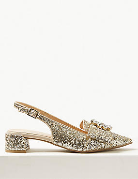 Block Heel Jewel Slingback Court Shoes