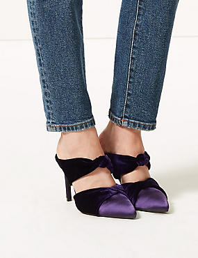 Knot Twist Stiletto Heel Mules, PURPLE, catlanding