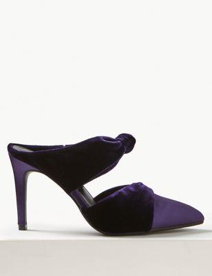 f416f0c8da77ff Knot Twist Stiletto Heel Mules £35.00. Wide Fit Block Heel Sandals ...