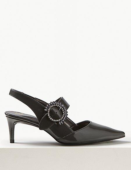 Kitten Heel Buckle Slingback Court Shoes