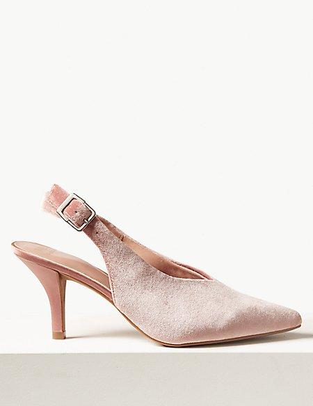 Stiletto Heel High Cut Slingback Court Shoes