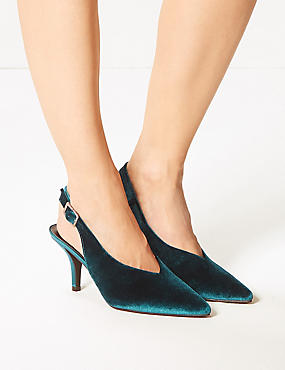 Stiletto Heel High Cut Slingback Court Shoes, TEAL, catlanding