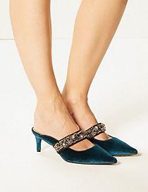 Kitten Heel Jewel Mule Sandals