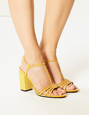 Block Heel Diamanté T-Bar Sandals