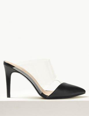 c26c184b2ba Stiletto Heel Perspex Mules
