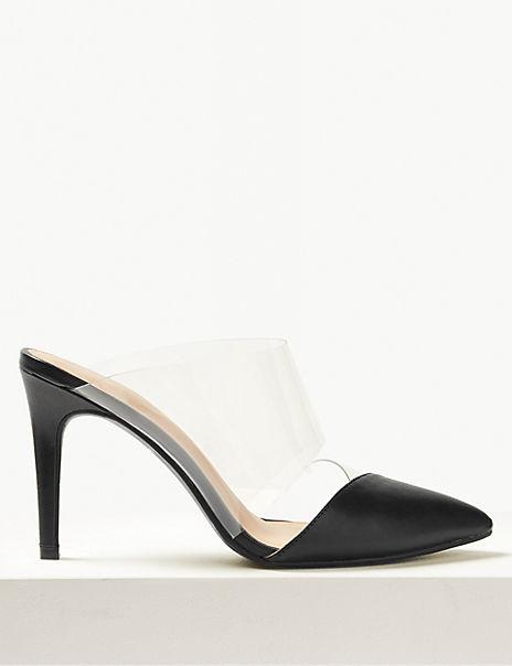 Stiletto Heel Perspex Mules