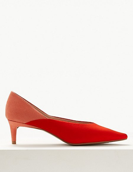 Kitten Heel Pointed Court Shoes