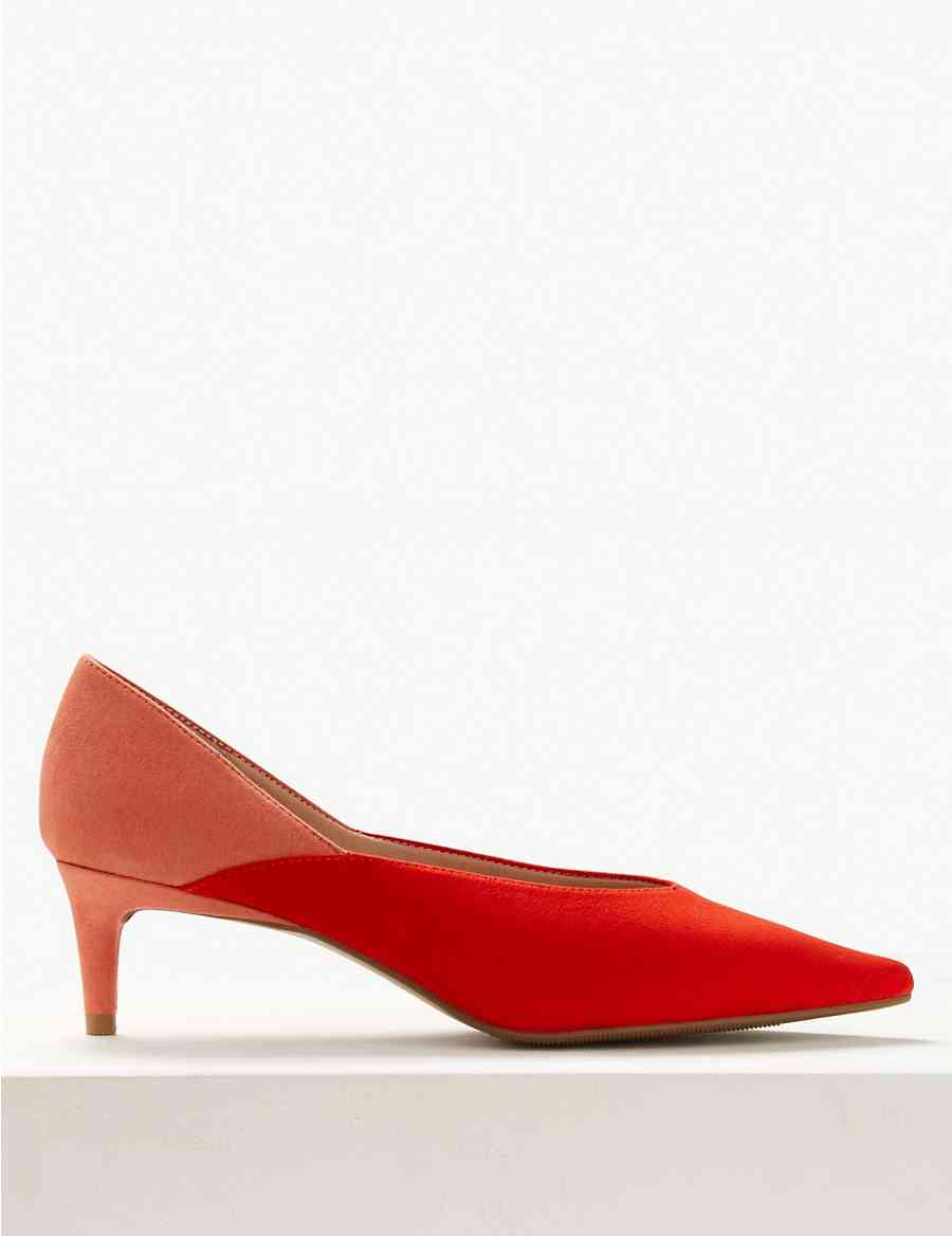 ba708cadb44 Kitten Heel Pointed Court Shoes