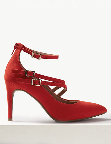 Stiletto Heel Multi Strap Pointed Court Shoes