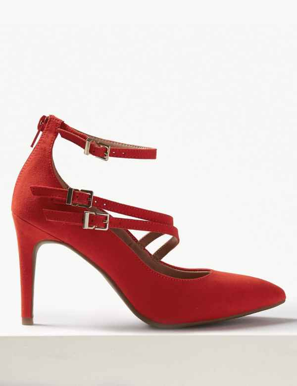 ffd1bf2c59b9 Stiletto Heel Multi Strap Pointed Court Shoes