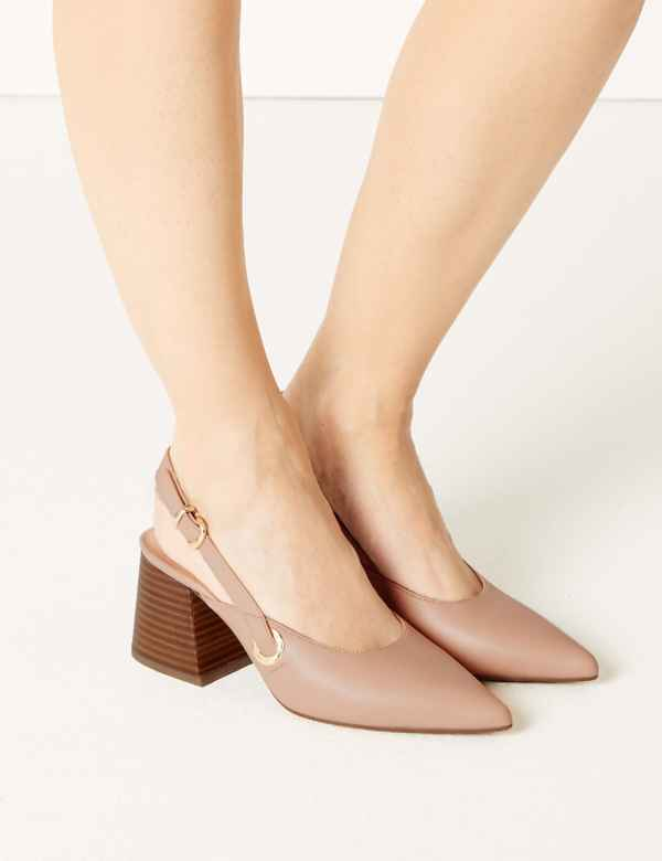 a619e6bda88 Pointed Toe Slingback Shoes. M S Collection