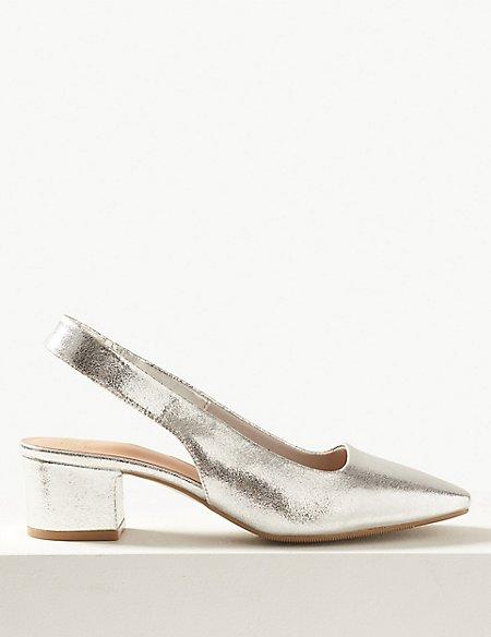 Square Toe Slingback Shoes
