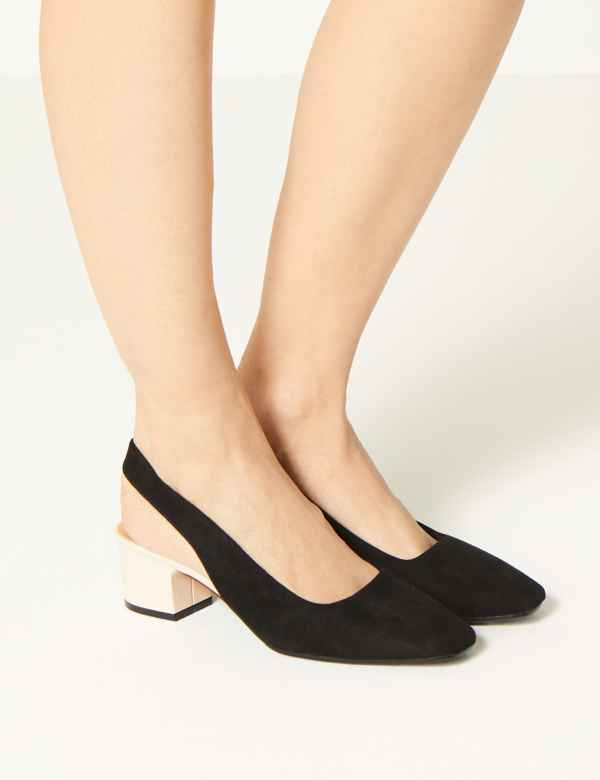 5c411927f7911d Square Toe Slingback Shoes. M S Collection