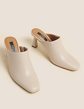 Leather Square Toe Mule Court Shoes