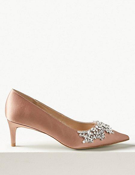 Satin Kitten Heel Trim Court Shoes