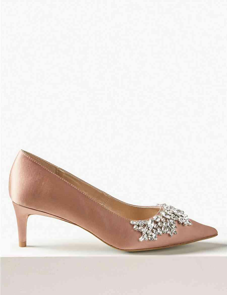 110fffab828 Satin Kitten Heel Trim Court Shoes
