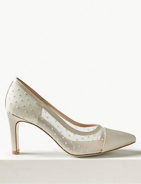 Stiletto Heel Mesh Spot Court Shoes