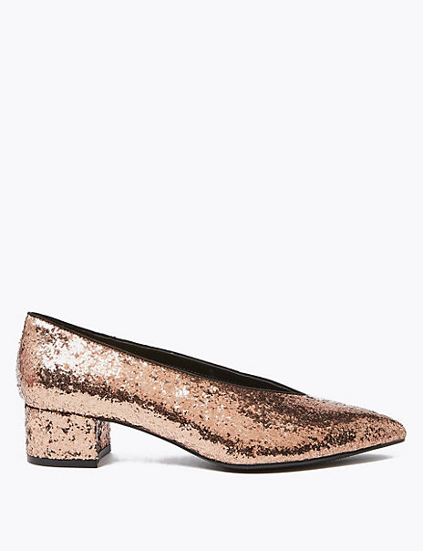 Glitter Block Heel Pointed Toe Court Shoes