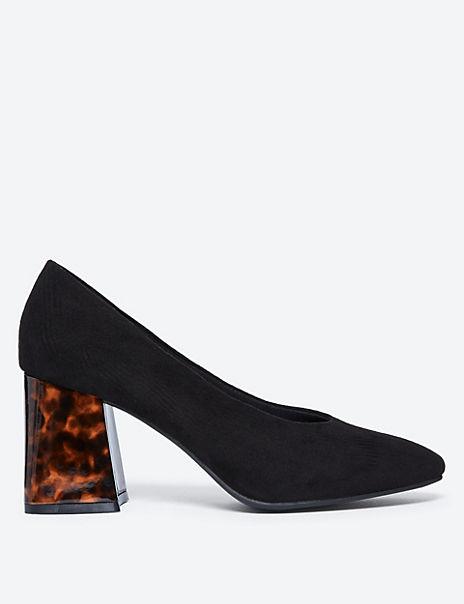 Flared Block Heel Court Shoes