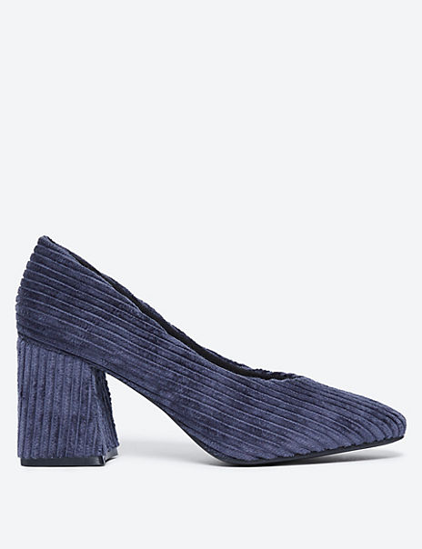 Cord Flared Block Heel Court Shoes