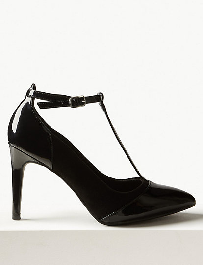 cb2271d9115 Stiletto Heel T-Bar Court Shoes | All Shoes | Marks and Spencer US