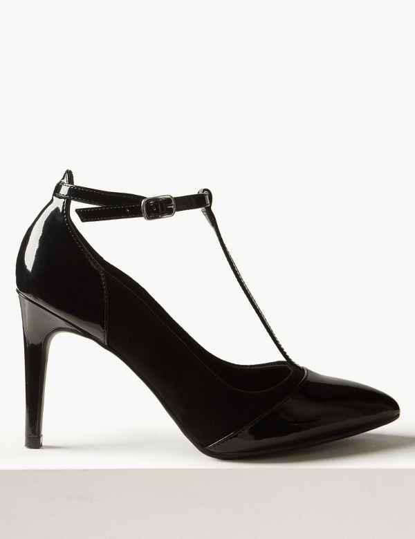 07f55904c3e4c6 Stiletto Heel T-Bar Court Shoes. M S Collection