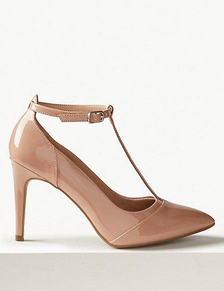 Stiletto Heel T-Bar Court Shoes