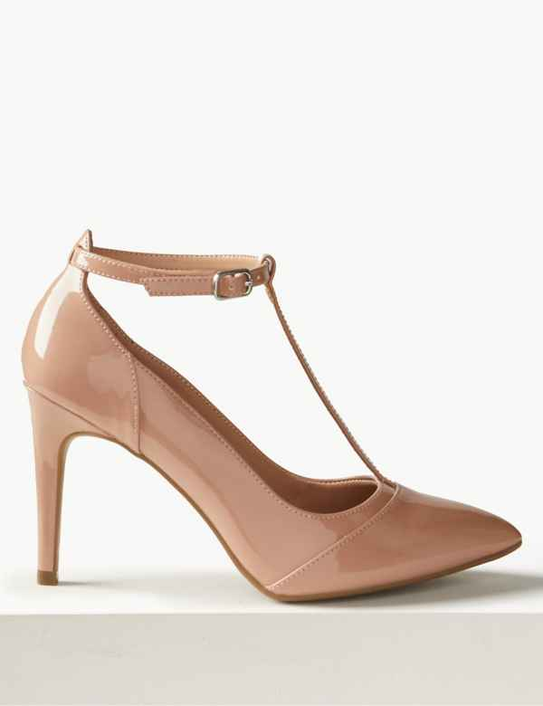 a4efde84221a Stiletto Heel T-Bar Court Shoes