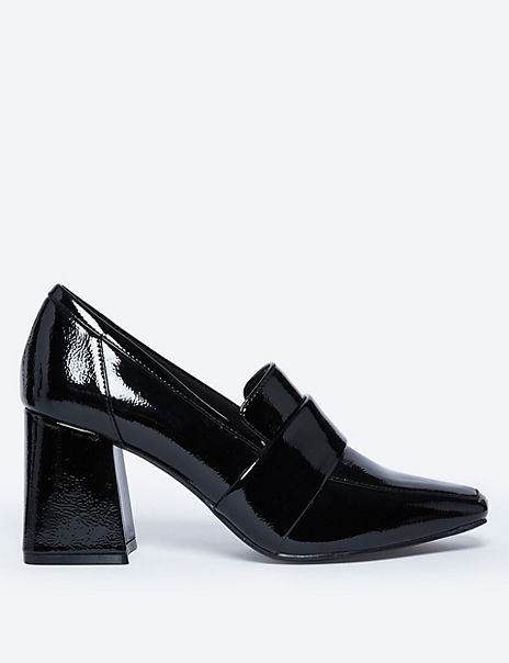 Patent Flared Block Heel Loafers