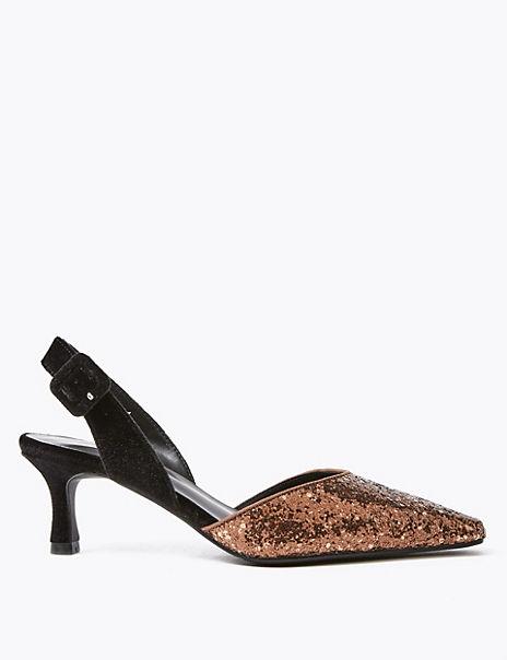Glitter Kitten Heel Slingback Court Shoes
