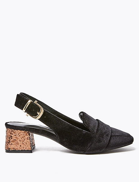 Slingback Square Toe Loafers