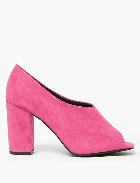 Peep Toe Block Heel Shoe Boot