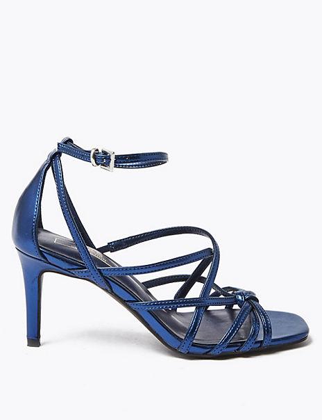 Metallic Multi Strap Stiletto Heel Sandals